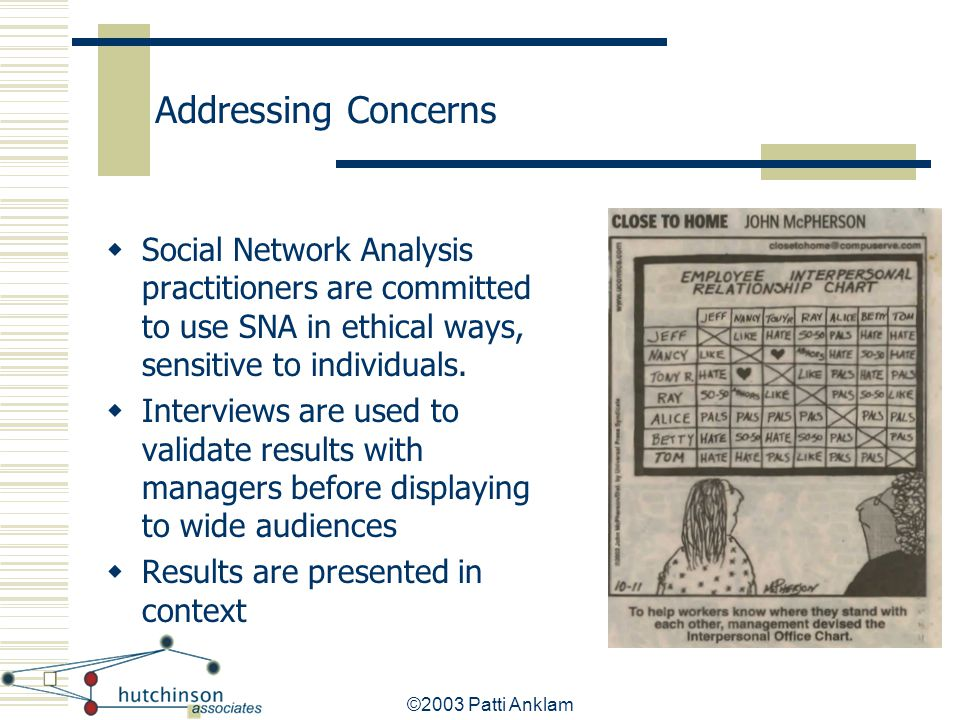 Addressing Concerns Social Network Analysis practitioners are committed to use SNA in ethical ways, sensitive to individuals.