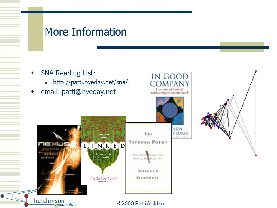 More Information SNA Reading List: