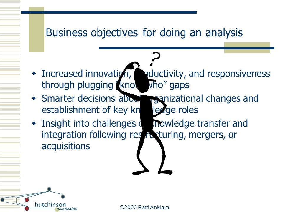 Business objectives for doing an analysis