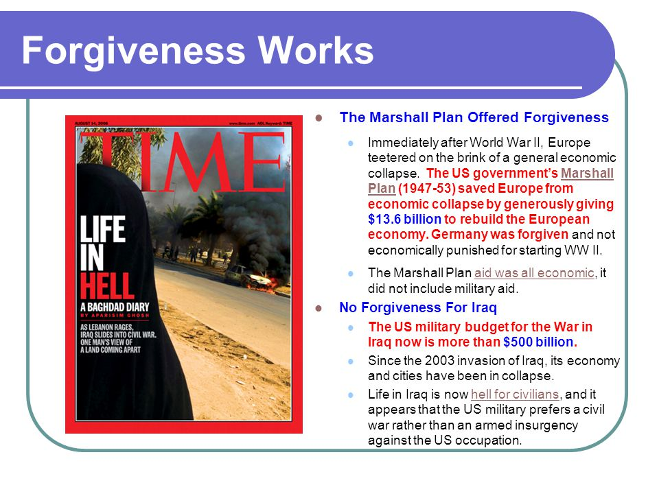Forgiveness Works The Marshall Plan Offered Forgiveness
