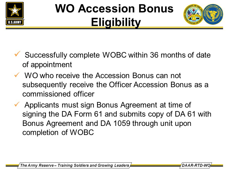 WO Accession Bonus Eligibility