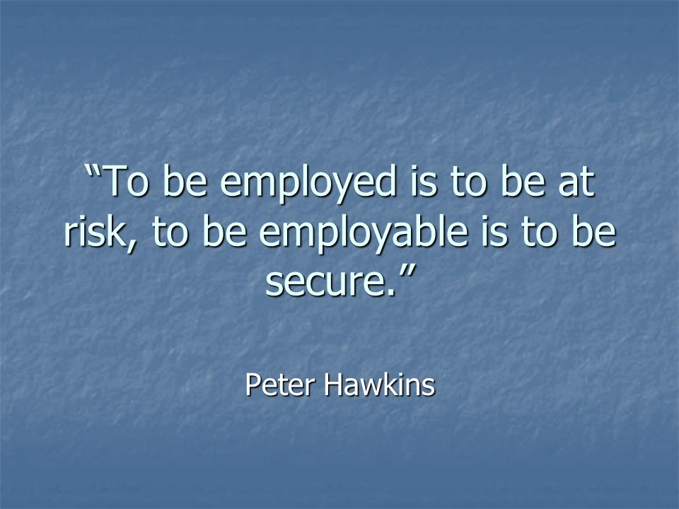 To be employed is to be at risk, to be employable is to be secure.