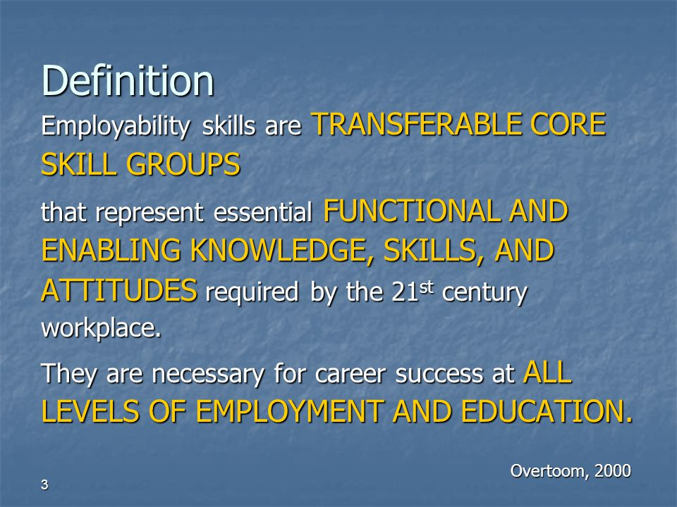 Definition Employability skills are TRANSFERABLE CORE SKILL GROUPS