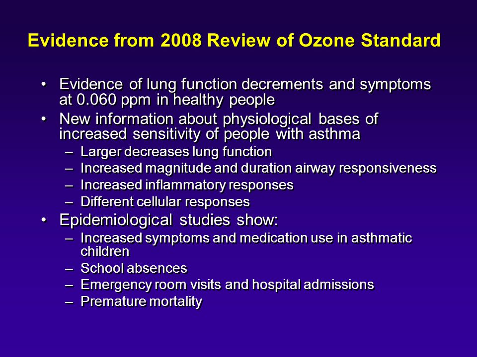 Evidence from 2008 Review of Ozone Standard