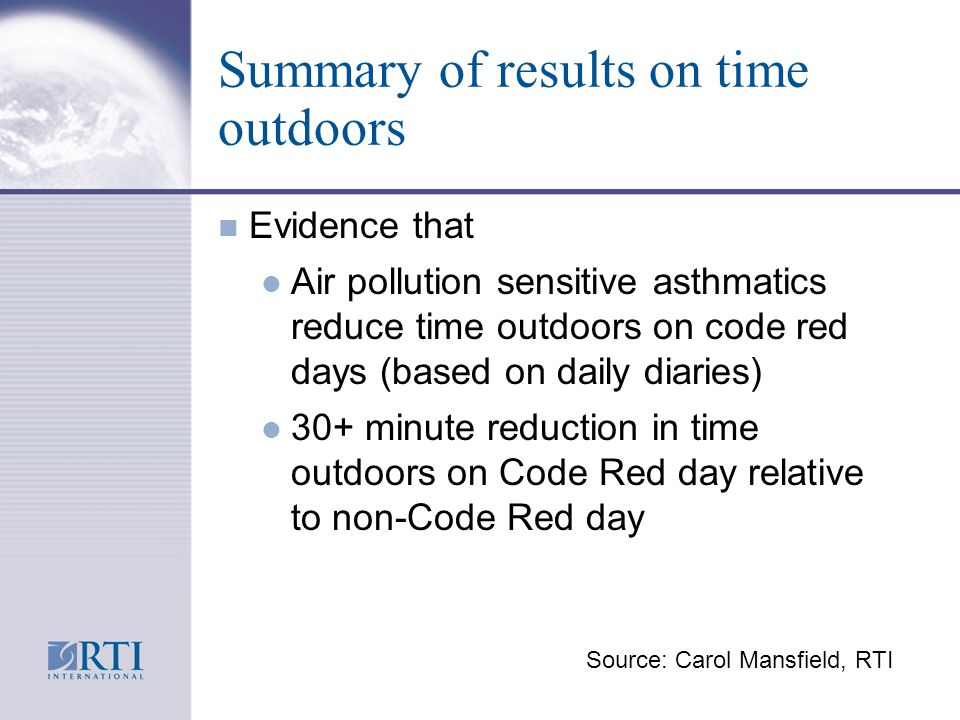 Summary of results on time outdoors