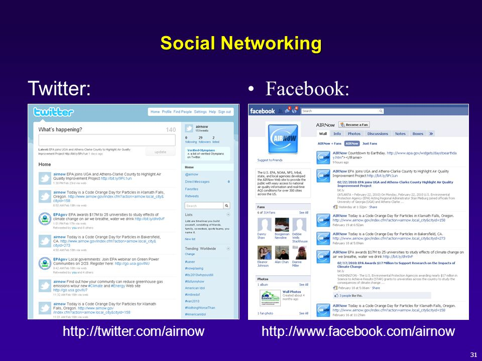 Facebook: Twitter: Social Networking http://twitter.com/airnow