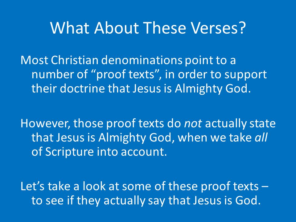 What About These Verses