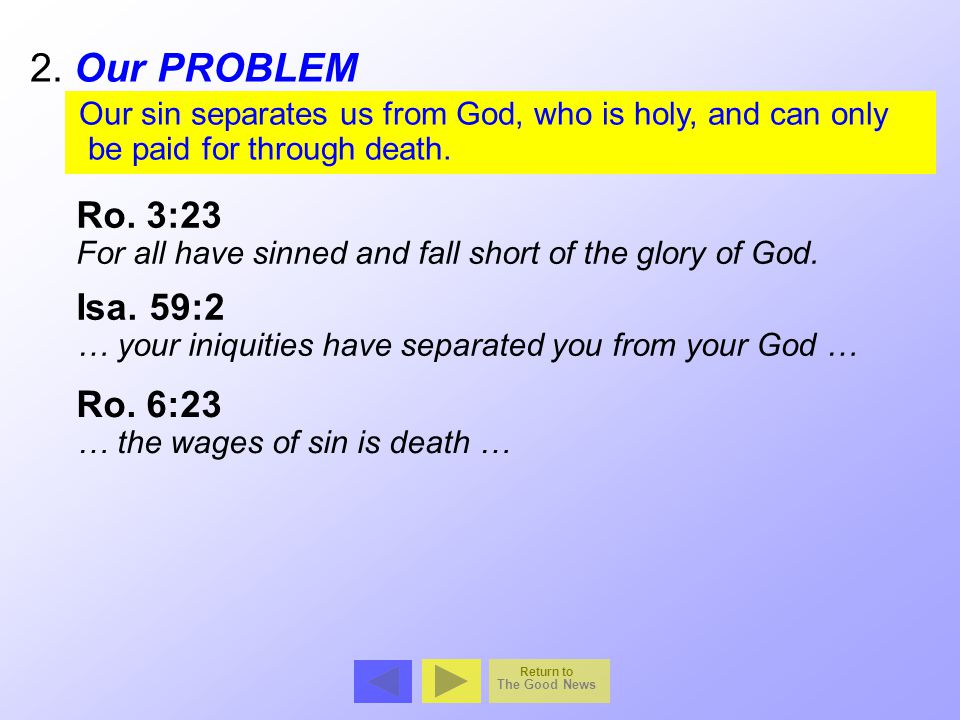 2. Our PROBLEM Ro. 3:23 Isa. 59:2 Ro. 6:23