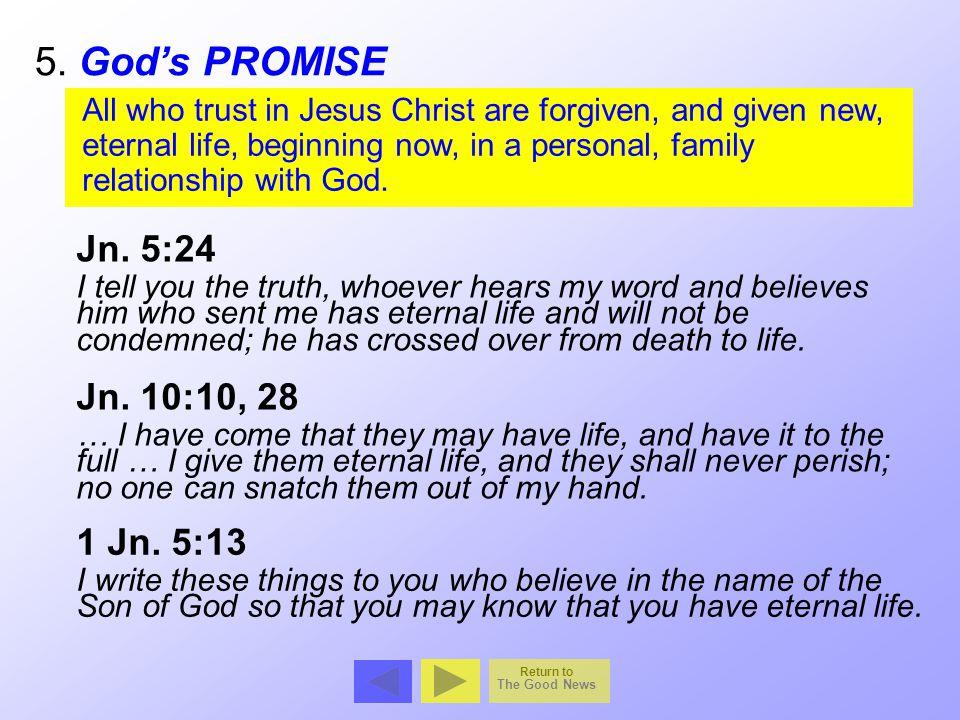 5. God's PROMISE Jn. 5:24 Jn. 10:10, 28 1 Jn. 5:13