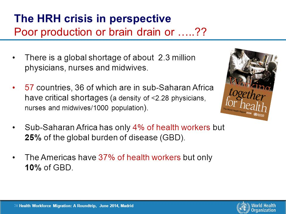 The HRH crisis in perspective Poor production or brain drain or …..