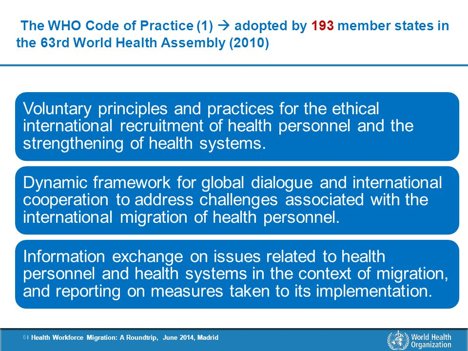 The WHO Code of Practice (1)  adopted by 193 member states in the 63rd World Health Assembly (2010)