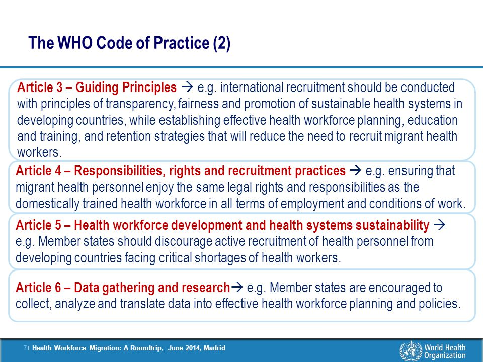 The WHO Code of Practice (2)