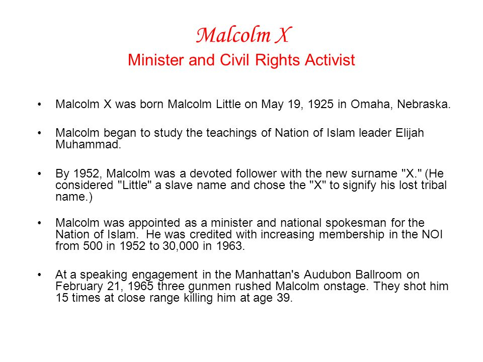 Malcolm X Minister and Civil Rights Activist