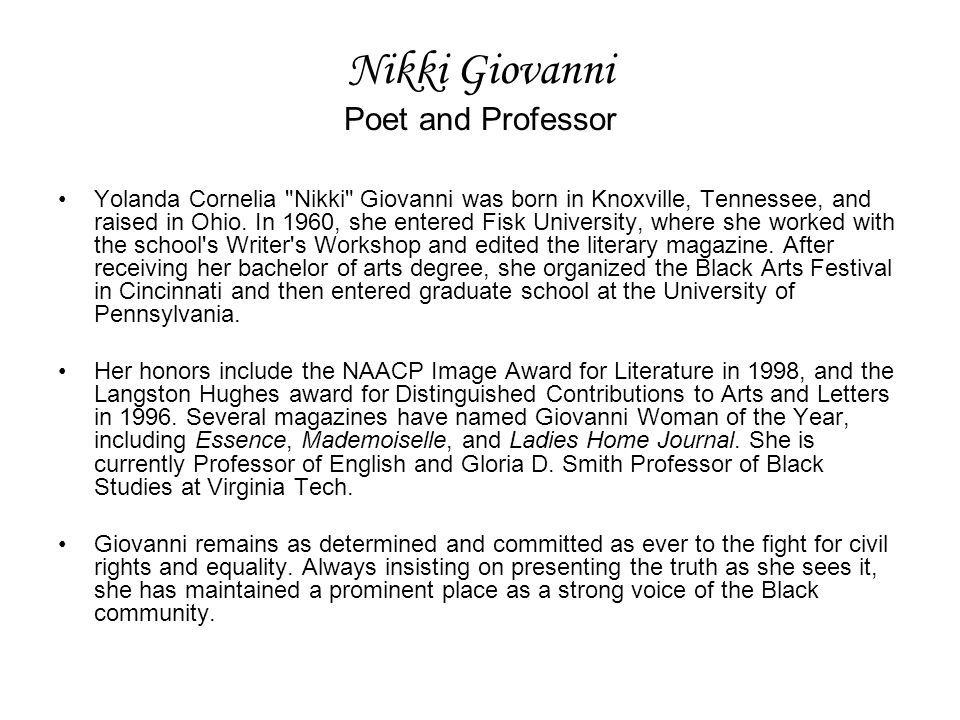 Nikki Giovanni Poet and Professor