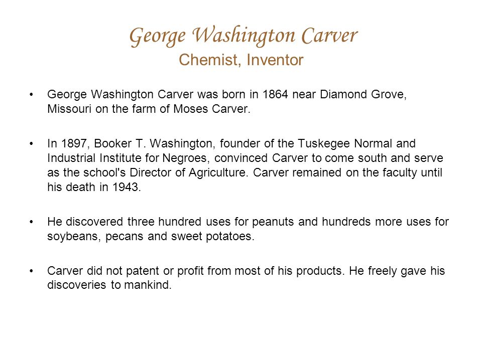 George Washington Carver Chemist, Inventor