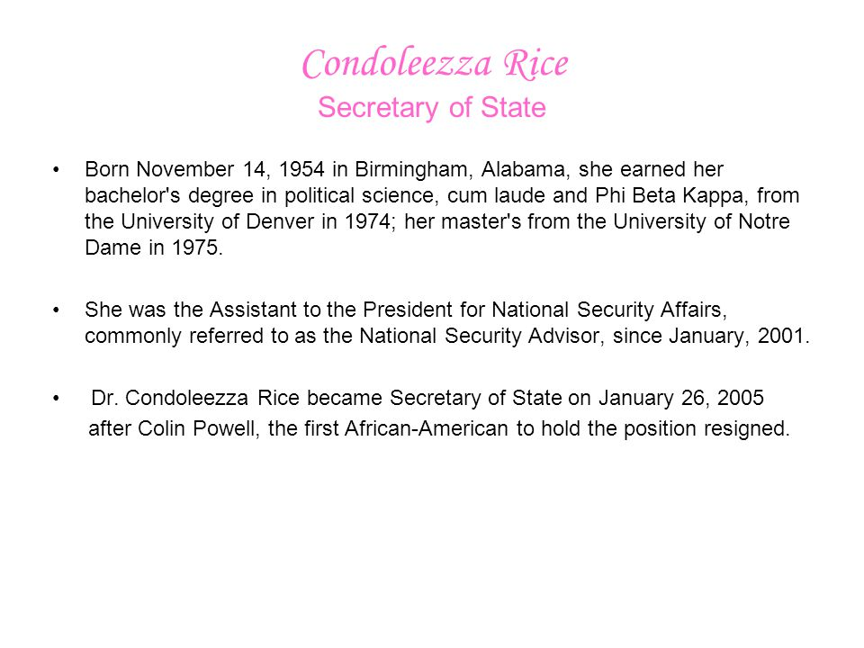 Condoleezza Rice Secretary of State