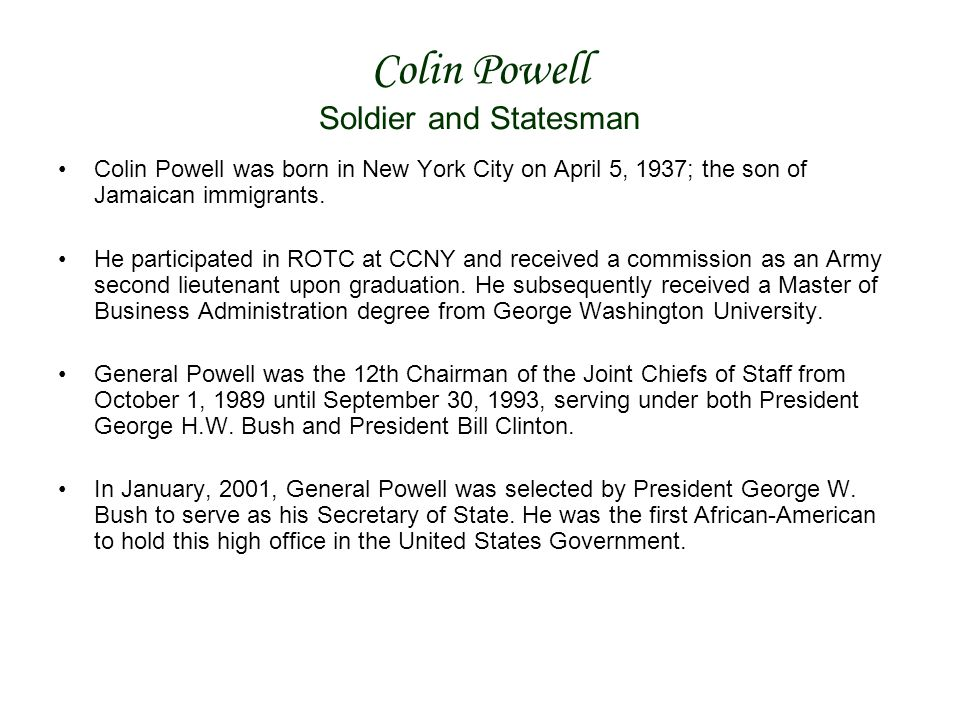 Colin Powell Soldier and Statesman