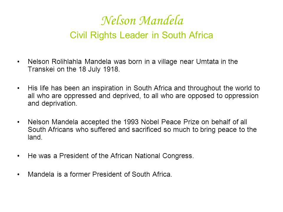 Nelson Mandela Civil Rights Leader in South Africa