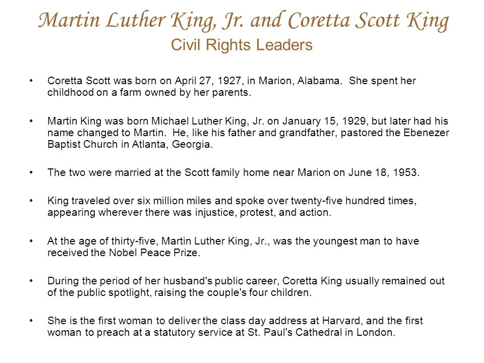 Martin Luther King, Jr. and Coretta Scott King Civil Rights Leaders