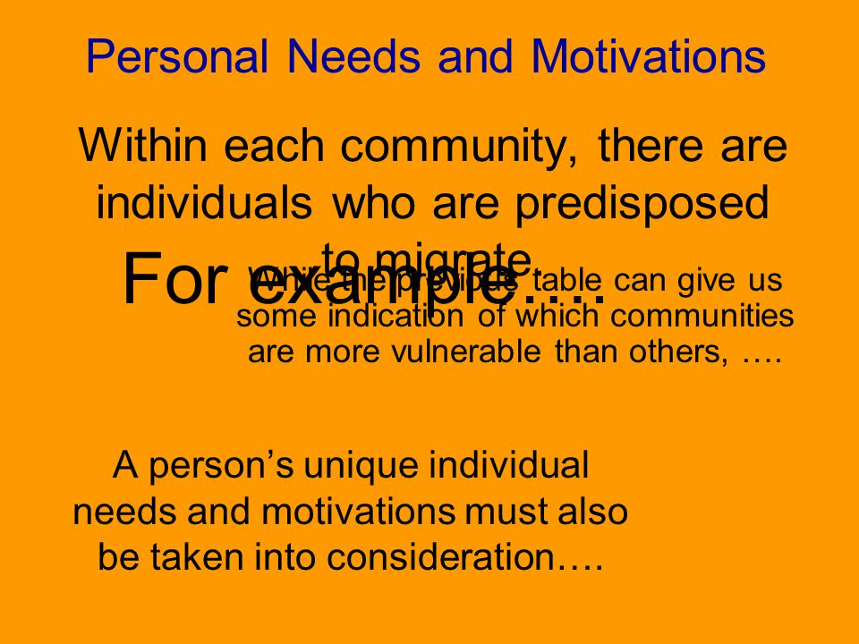 Personal Needs and Motivations