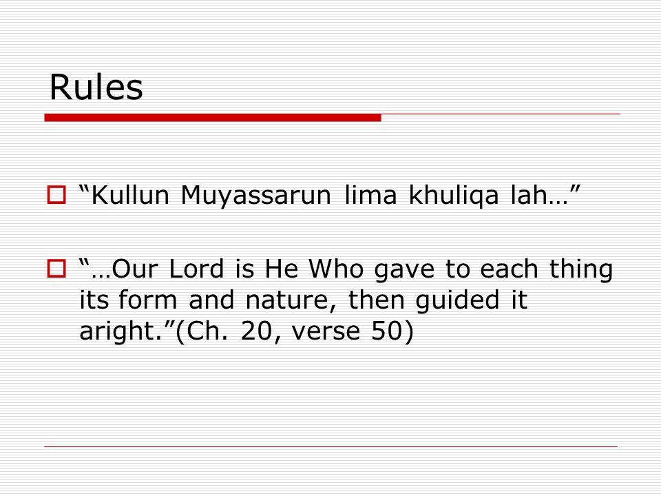 Rules Kullun Muyassarun lima khuliqa lah…