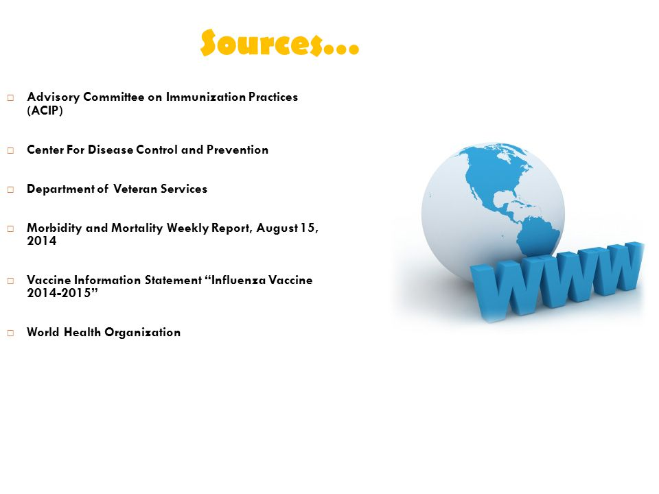 Sources… Advisory Committee on Immunization Practices (ACIP)