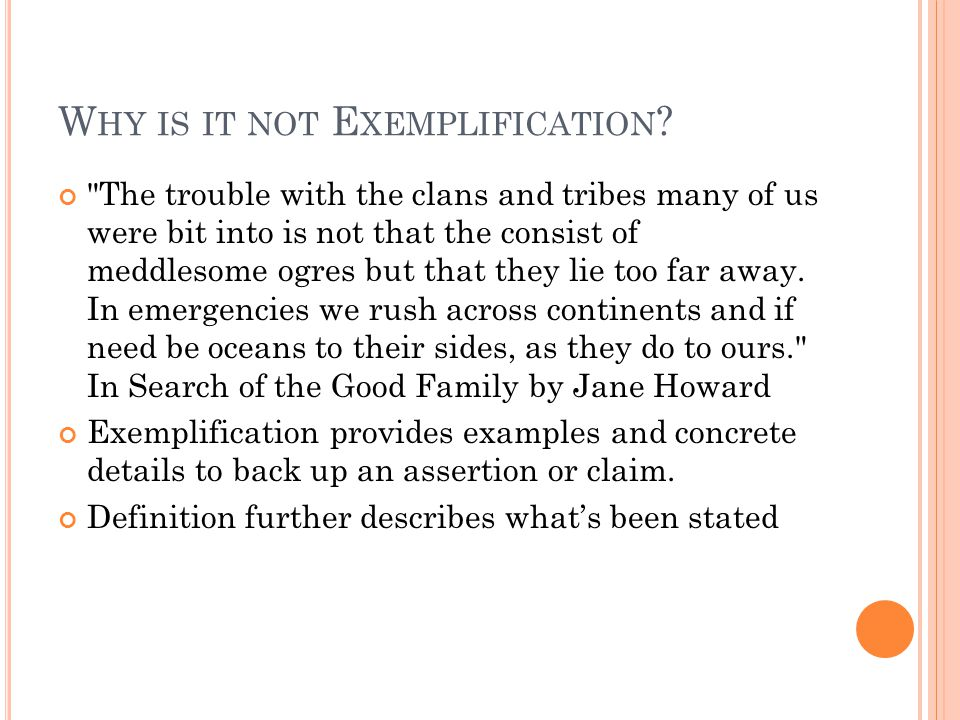 Why is it not Exemplification
