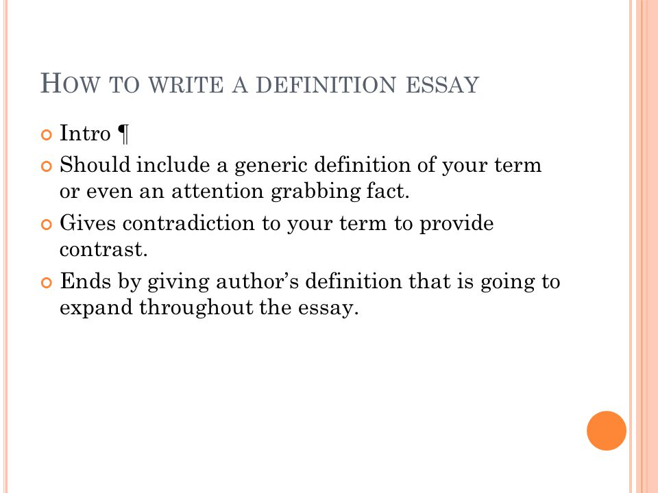 Writing a Definition Essay: Step by Step
