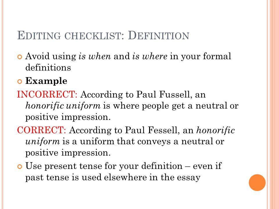Editing checklist: Definition
