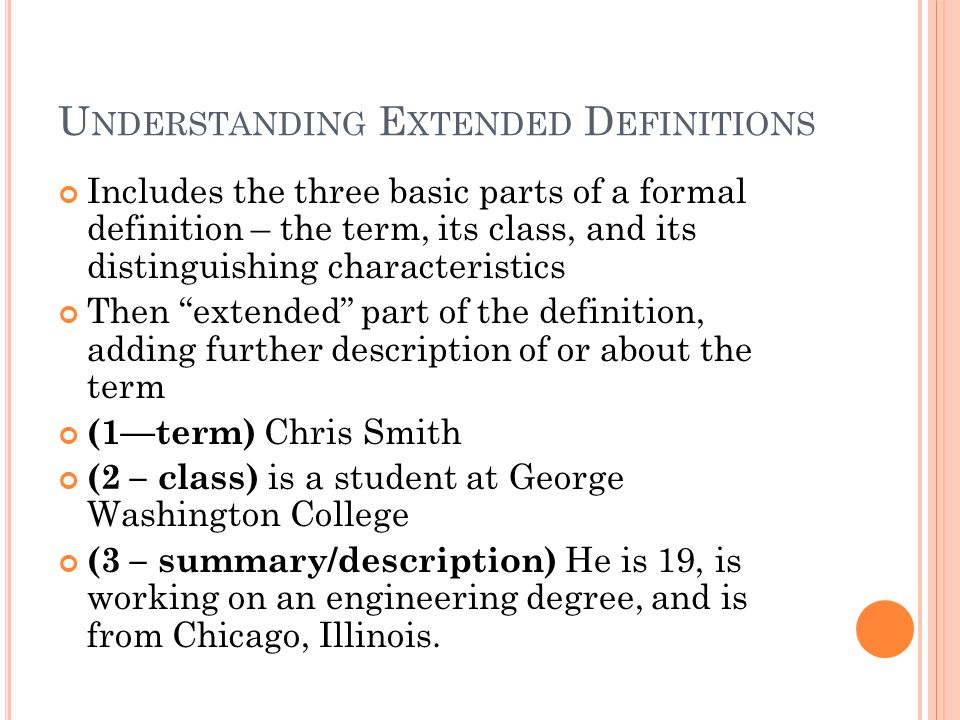Understanding Extended Definitions
