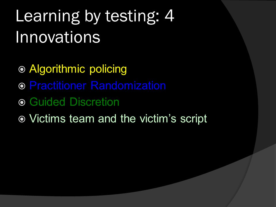 Learning by testing: 4 Innovations