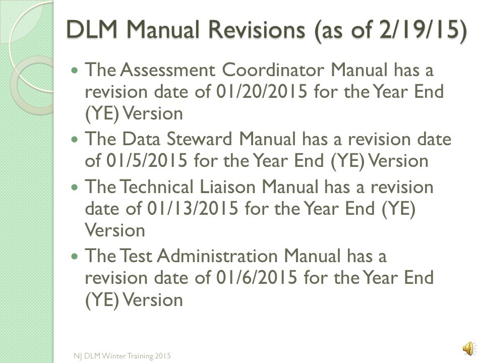 DLM Manual Revisions (as of 2/19/15)
