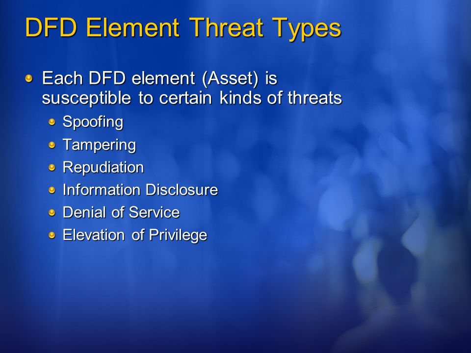 DFD Element Threat Types