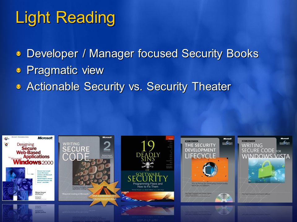 Light Reading Developer / Manager focused Security Books