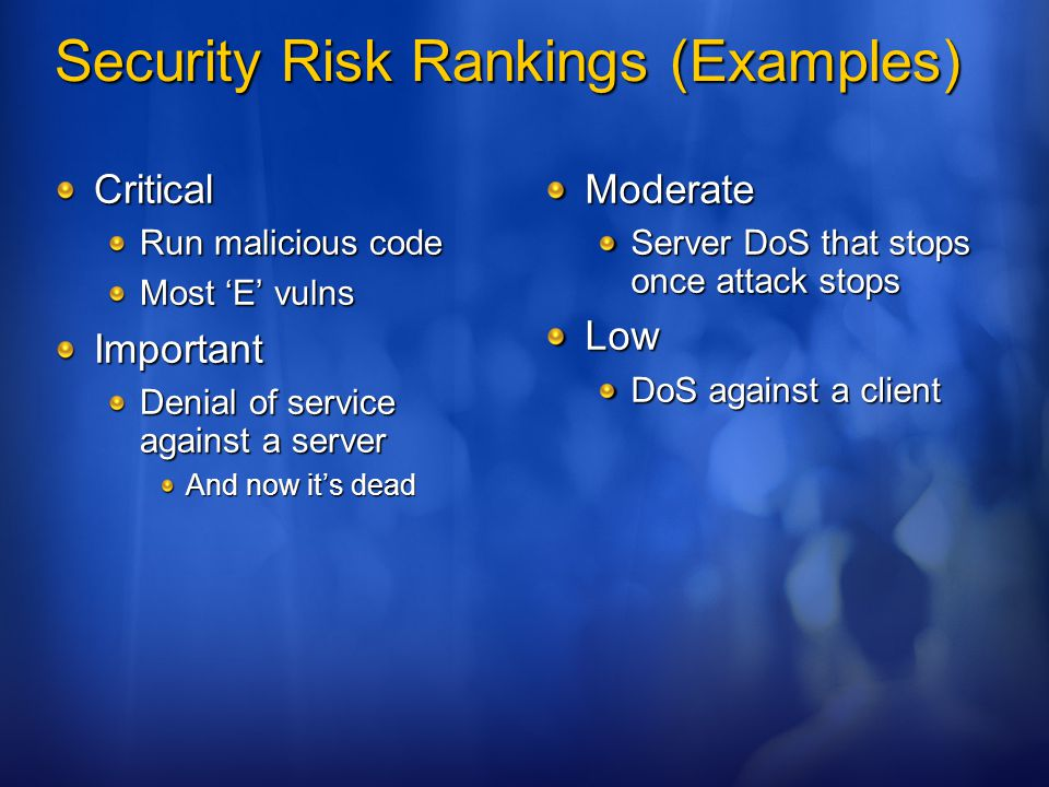 Security Risk Rankings (Examples)