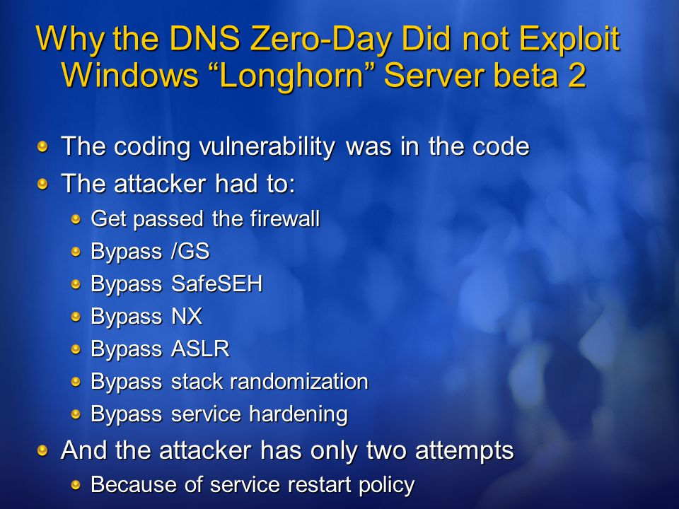 Why the DNS Zero-Day Did not Exploit Windows Longhorn Server beta 2