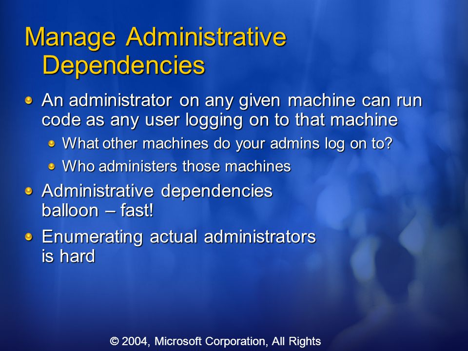 Manage Administrative Dependencies