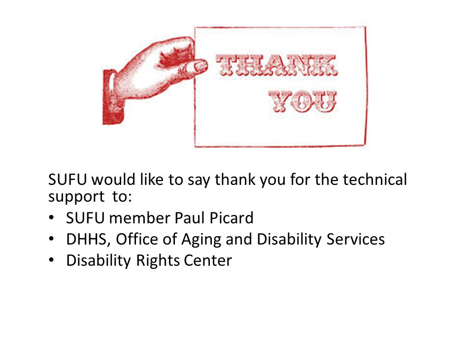 SUFU would like to say thank you for the technical support to: