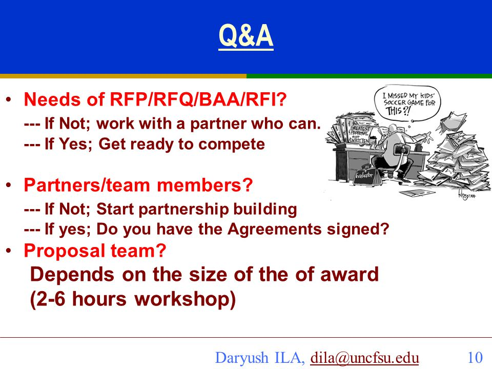 Q&A Depends on the size of the of award (2-6 hours workshop)