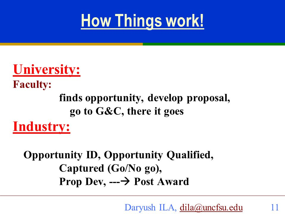 How Things work! University: Industry: Faculty: