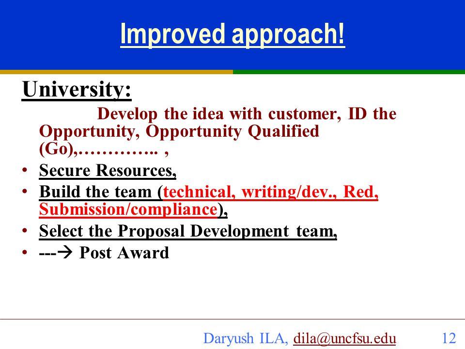Improved approach! University: