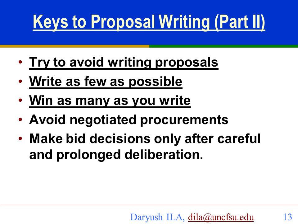 Keys to Proposal Writing (Part II)