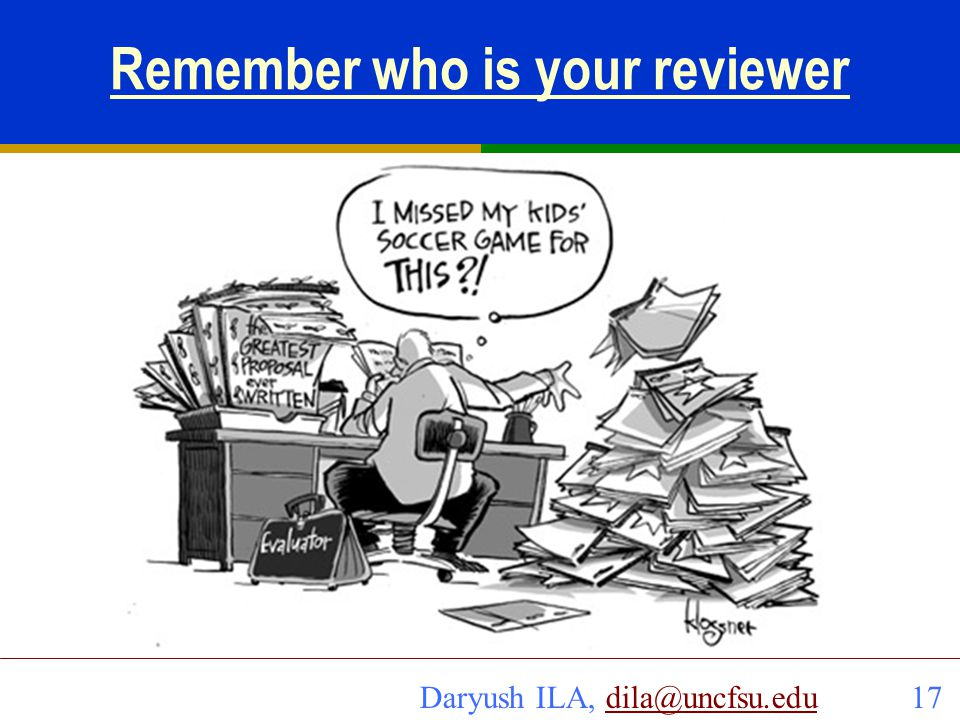 Remember who is your reviewer