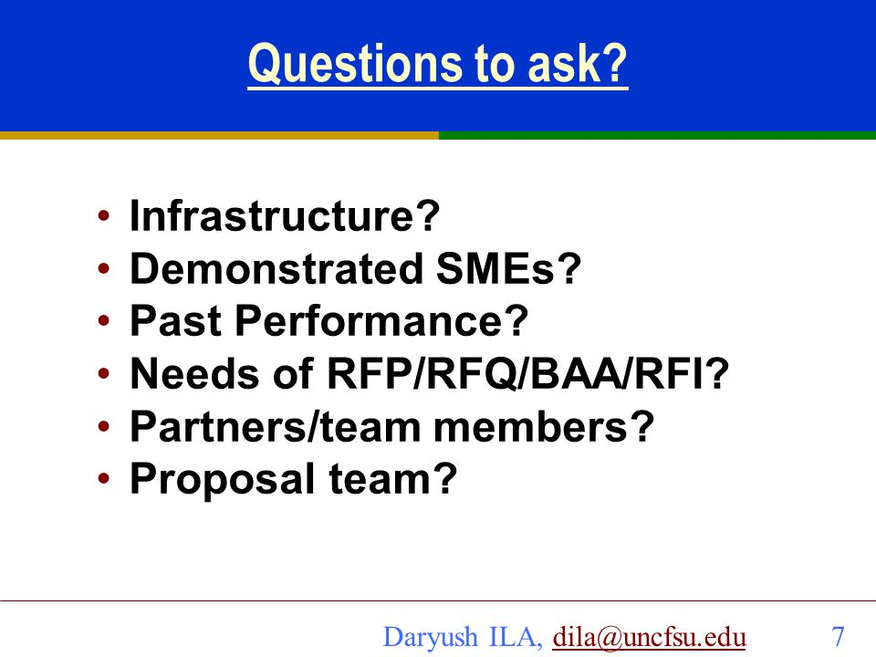 Questions to ask Infrastructure Demonstrated SMEs Past Performance