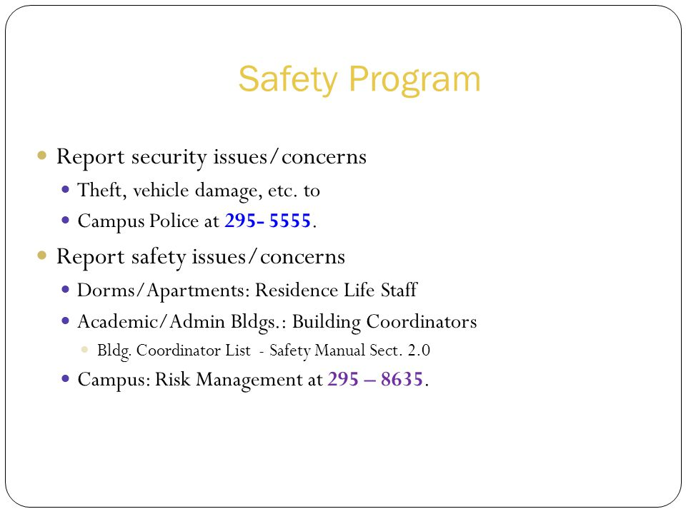 Safety Program Report security issues/concerns