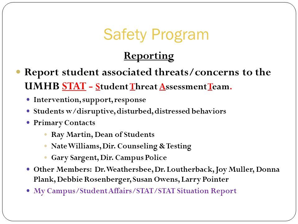 Safety Program Reporting