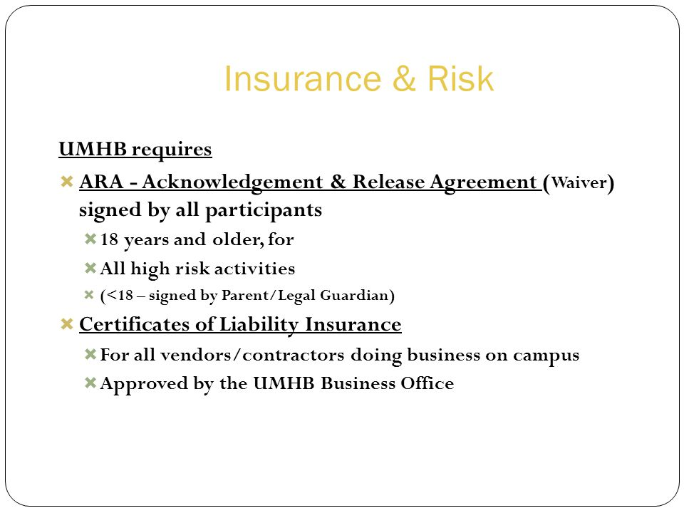 Insurance & Risk UMHB requires