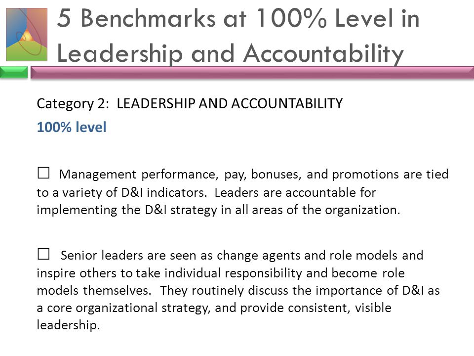 5 Benchmarks at 100% Level in Leadership and Accountability