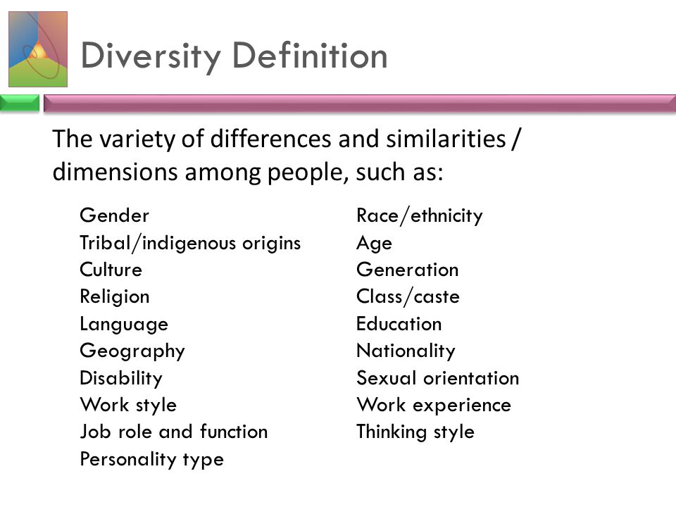 Diversity Definition The variety of differences and similarities / dimensions among people, such as: