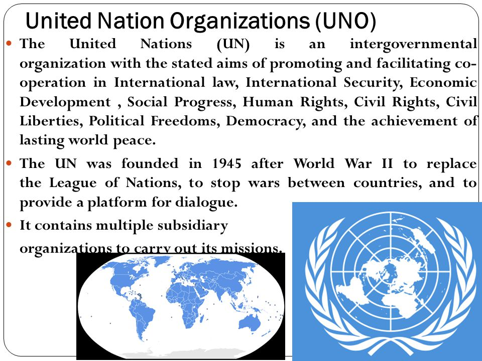 contribution to world peace by united nation and any of its agencies It primary purpose is to maintain world peace and security the united nations first tried to impose its specialized un agencies such as the world health.